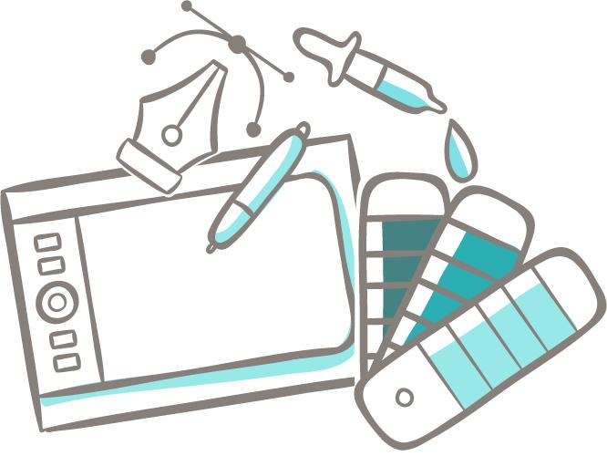 Les outils du graphiste : tablette, pantone, pipette