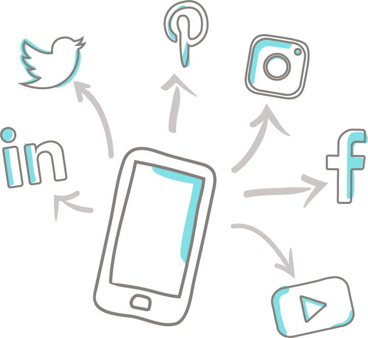 Un smartphone et des réseaux sociaux, illustrant la gestion des réseaux sociaux