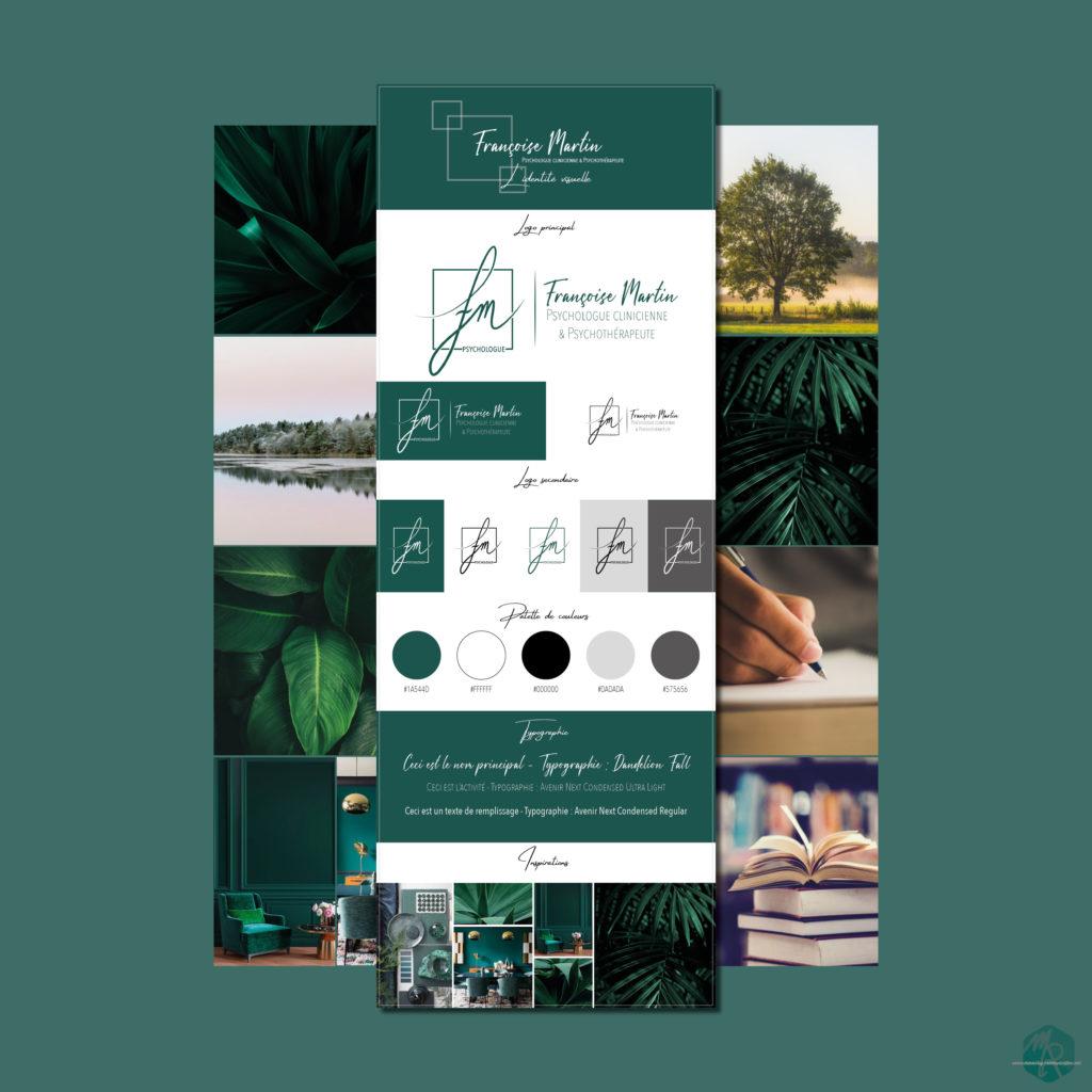 Identité visuelle pour un Psychologue clinicien et Psychothérapeute : Logo, charte graphique, design. Réalisé par Manon Rey Communication